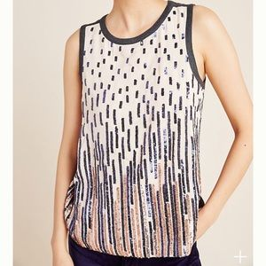 NWT Anthropologie Tiny Sequin Tank Top Large